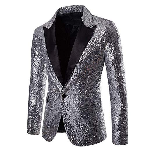 メンズ 派手 な ジャケット きらきら シルバー 銀 目立つ スパンコール 結婚式 ステージ マジシャン 手品 衣装