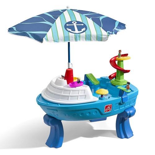 水遊び 遊具 おもちゃ ステップ2 パラソル付 フィエスタクルーズ ウォーター テーブル 砂場 サンドボックス 子供 野外 屋外 家庭