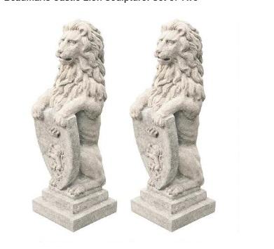 ビューマリス ボーマリス キャッスル ライオン 彫刻 2点セット エクステリア 門 飾り ガーデン オーナメント
