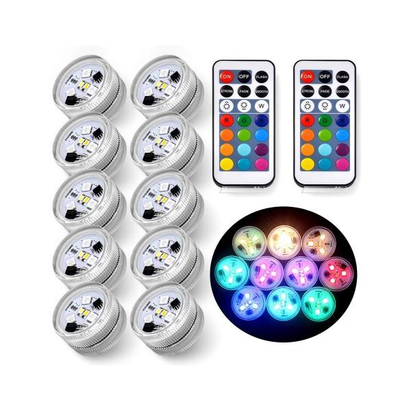 プールライト 10個 ナイトプール プールサイド パーティー イベント 防水 タブ型 デコレーション LED 装飾 リモコン付き