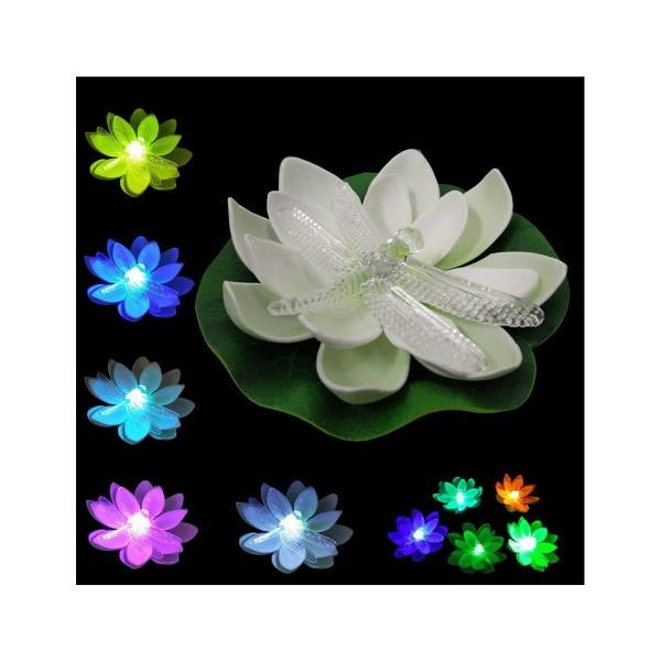 ナイトプール フローティング 花 とんぼ ライト 6個 プール 浮かべる 飾り デコレーション 綺麗