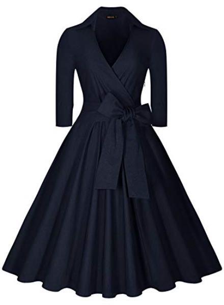 ドレスレトロ ひざ丈 Vネック ドレス 5分丈 ワンピース 青 ネイビー ブルー レディース オフィス カジュアル 20年代 30年代 パーティ 衣装