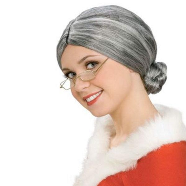 コスプレ ウィッグ かつら 老女 おばあさん 白髪 シニヨン お団子 ハロウィン 衣装 グッズ