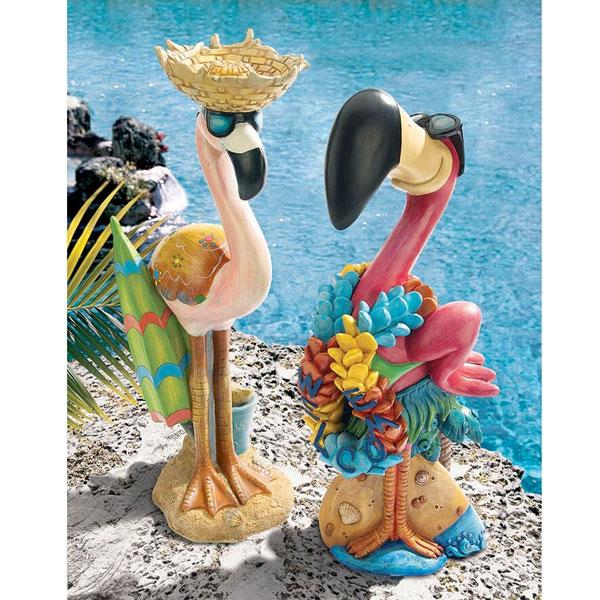 【2020年10月中旬入荷予定】 ピンク フラミンゴ スタチュー セット Luau Larry & Flamingo Frank インテリア トロピカル 飾り 置物