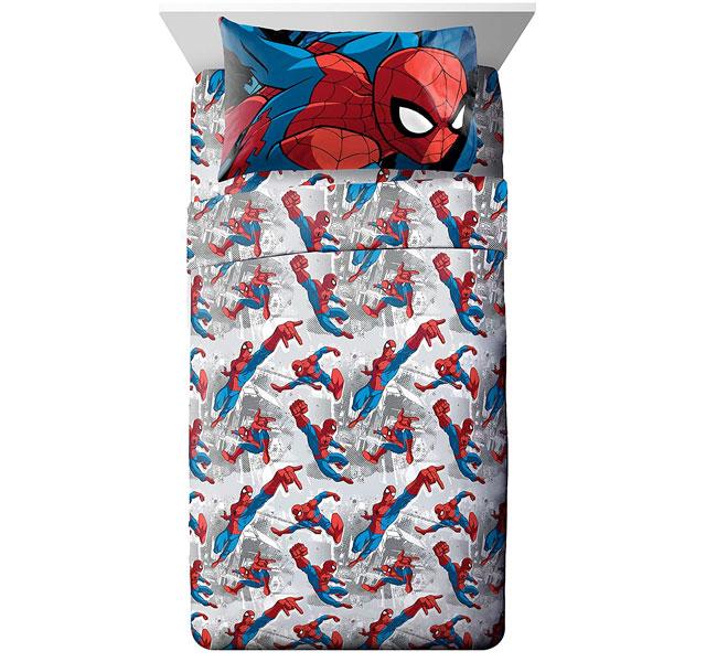 送料無料お手入れ要らず [再販ご予約限定送料無料] 通常便なら送料無料 スパイダーマン シーツ セット グッズ シーツセット ダブルサイズ 子供 マーベル 通常便は送料無料 Spiderman 部屋 Burst 寝具