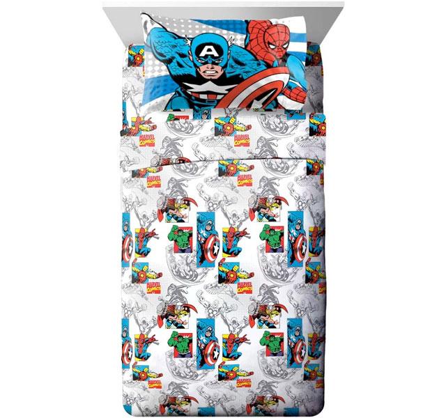 通常便なら送料無料 マーベル ヒーロー シーツ 5☆好評 セット スパイダーマン グッズ 格安 価格でご提供いたします シーツセット 部屋 ブルー ダブルサイズ 通常便は送料無料 コミックス 寝具 子供