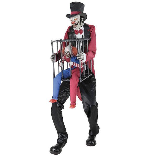 ハロウィン 飾り 動く しゃべる サーカス団長とケージのピエロ 怖い 不気味 飾り付け