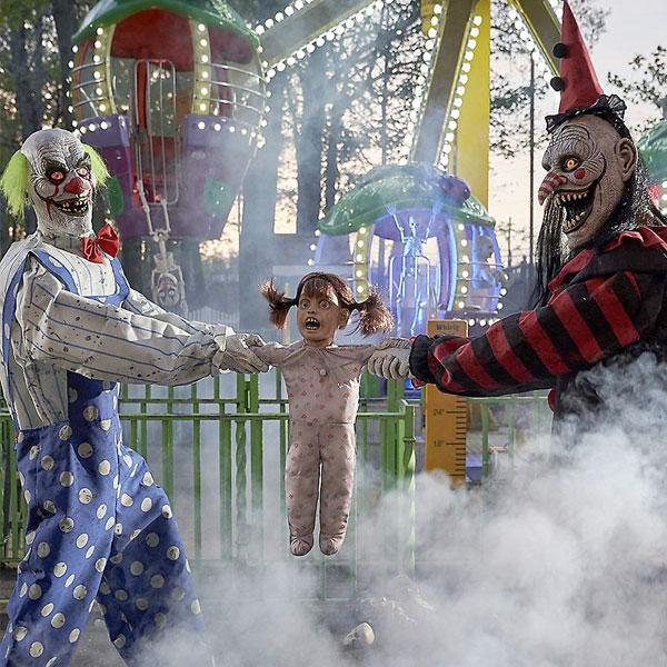 ハロウィン 飾り 動く しゃべる 叫ぶ ピエロ 綱引き 不気味 人形 飾り お化け屋敷
