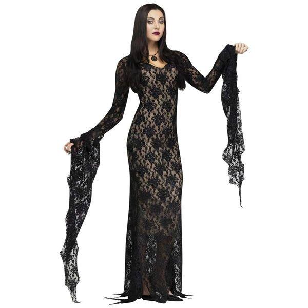 コスプレ 衣装 アダムスファミリー モーティシア レースのドレス 大人用コスチューム