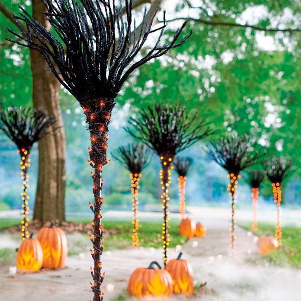 ハロウィン 飾り 装飾 ミニライト付き ほうき 3本セット 屋内 屋外 デコレーション 通常便は送料無料