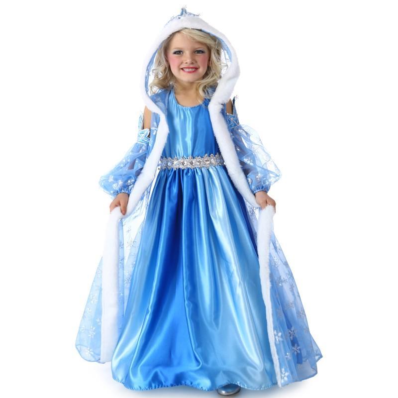プリンセス 雪の女王 お姫様 ブルー ロングドレス 子供用 女の子用 ハロウィン コスプレ コスチューム 衣装
