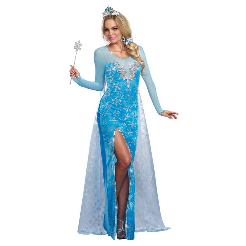 氷の女王 お姫様 プリンセス ブルー ロングドレス 大人用 女性用 ハロウィン コスプレ コスチューム 衣装