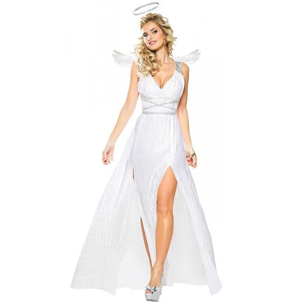 天使 女神 大人 女性用 コスチューム ハロウィン コスプレ パーティー 白 ドレス 天使の輪 天使の羽