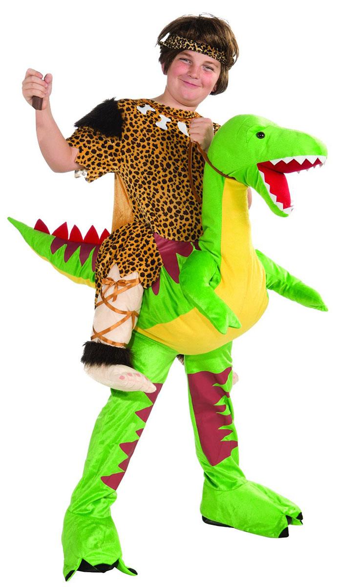ハロウィン 子供 おもしろい コスチューム コスプレ 原始人 恐竜に乗った原始人の着ぐるみ風コス