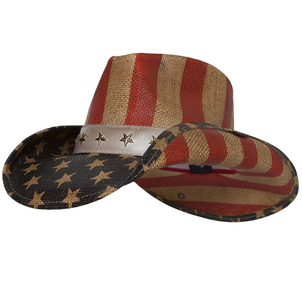 Hats Halloween toy accessories Western cowboy hat American star article  flag pattern straw hat blue adult e6cff084cf6