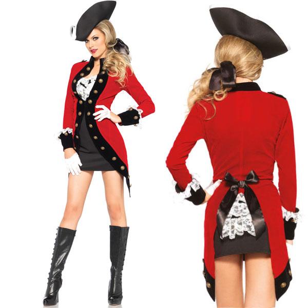 パイレーツ レッドコート 英国兵 兵隊 コスチューム 大人 女性用 海賊 衣装 コスプレ 仮装 ハロウィン