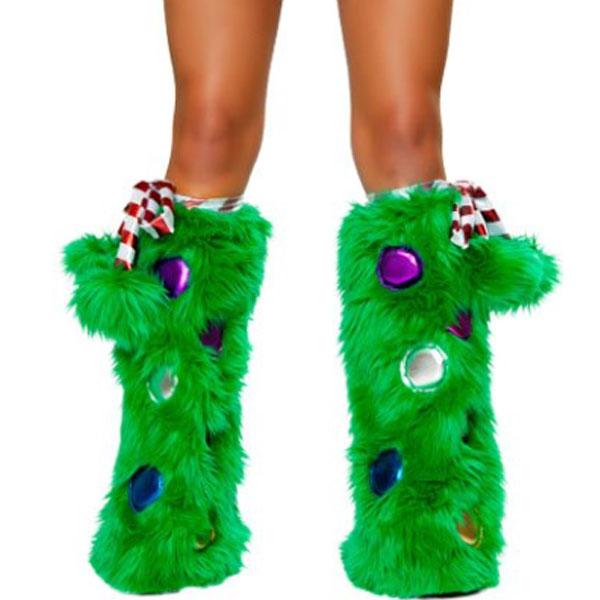 クリスマスツリー レッグウォーマ ふわふわ ホリデー 大人用 コスプレ 仮装
