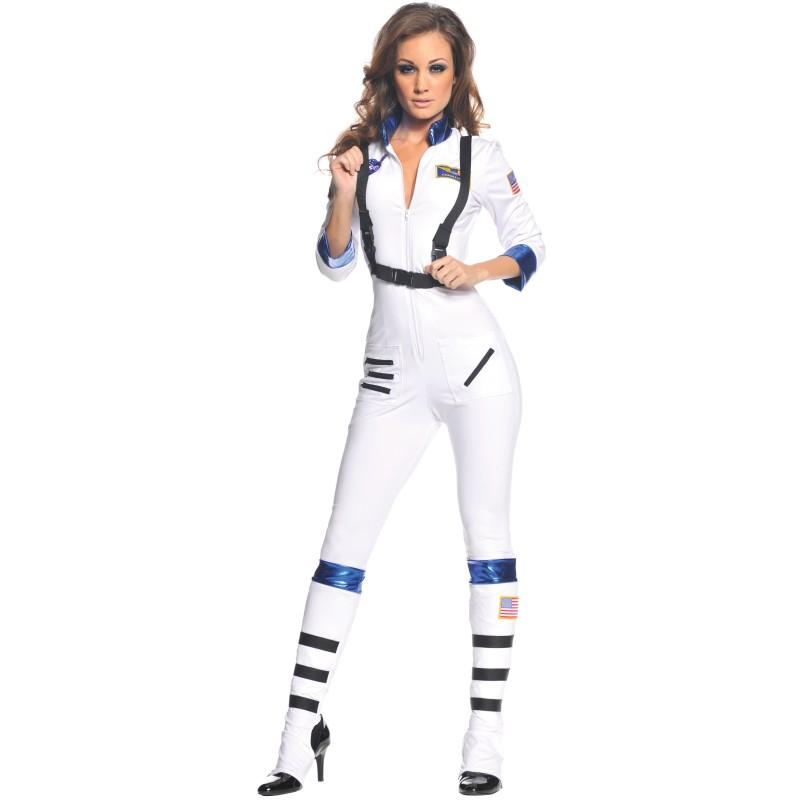 宇宙飛行士 旅行 女性 大人用 コスチューム ホワイト スーツ 衣装