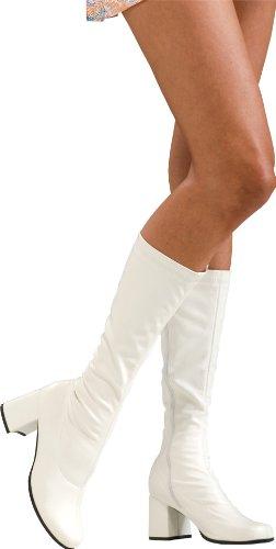 白 ブーツ ゴーゴーブーツ レディース 靴 シューズ エナメル パテント革 コスプレ グッズ 60's 60年代 ディスコ ダンス ヒッピー 衣