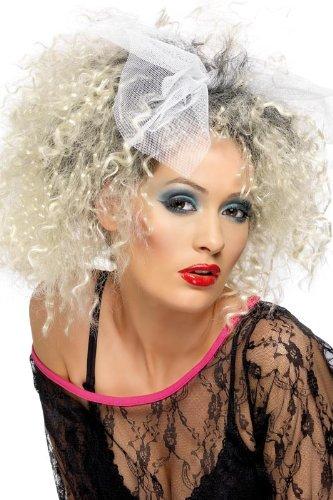 マドンナ風 かつら ウィッグ リボン付 レディース 80年代 80's 金髪 ブロンド 歌手 アイドル コスプレ 変装 ポップスター 大人 女性