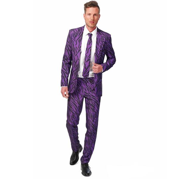 ハロウィン 派手 パープル タイガー 紫 セクシー 男 大人用 メンズ スーツ お笑い コメディアン 漫才 舞台 衣装 イベント オッポスーツ Opposuit ファンシースーツ