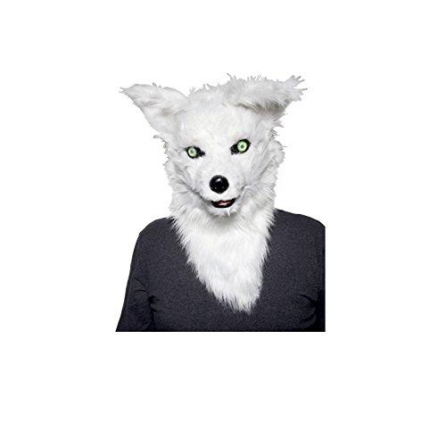 口が動く ホワイト フォックス 大人用 マスク 狐 かぶりもの ハロウィン コスプレ パーティー イベント 白 キツネ