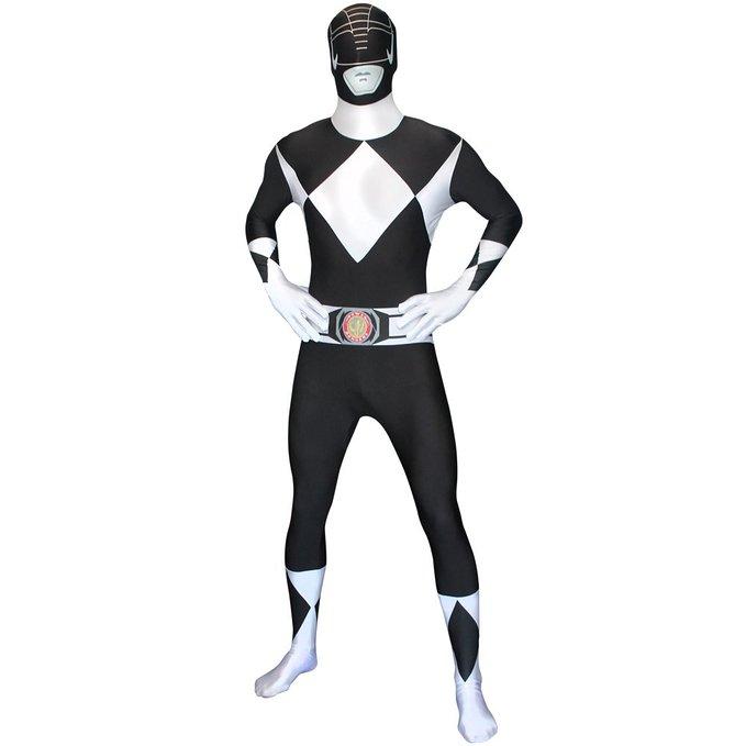 戦隊 スーツ 劇場版 パワーレンジャー ヒーロー コスチューム コスプレ 全身タイツ ブラック 黒 大人 変身 仮装 衣装 モーフスーツ