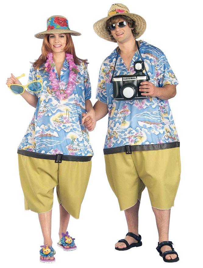 おもしろ 楽しい カップル トロピカル ツーリスト 旅行者 ユニセックス 男女兼用 ジャンプスーツ アロハシャツ 旅行 南国 ハロウィン コスプレ コスチューム 衣装