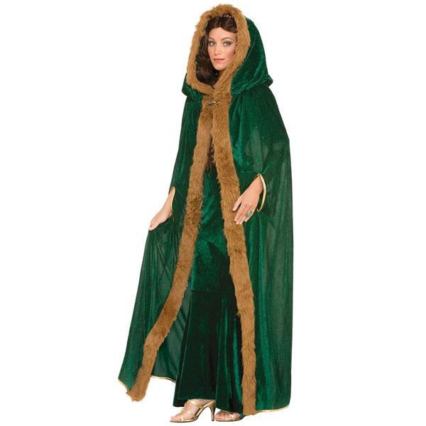 中世 ファンタジー 大人 女性用 ケープ マント グリーン ハロウィン コスプレ イベント パーティー 妃 姫 戦士 貴族