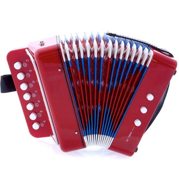 楽器 楽器玩具 おもちゃ アコーディオン 赤 レッド 高品質 本物そっくり 知育玩具 子供用 学校 音楽 クリスマス 誕生日 プレゼント ギフト