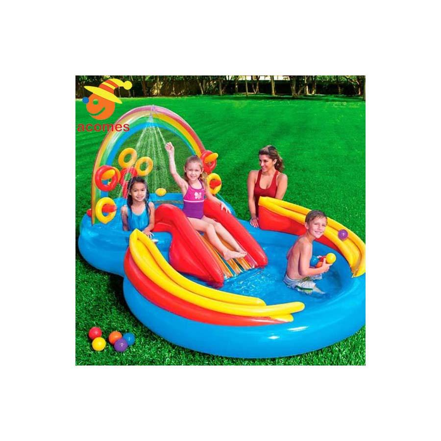 ビニールプール 水遊び レインボーリング 膨らませる 家庭用 子供用 浅い プール