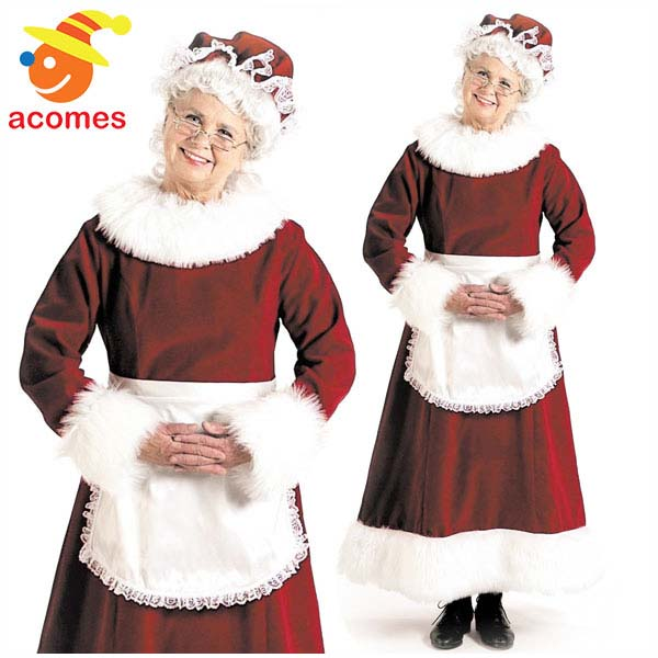 Santa Claus Mother Christmas Christmas Halloween Costume Play Costume Clothes For Adult For The Wife Costume Woman Of Mrs Book Cloth Santa