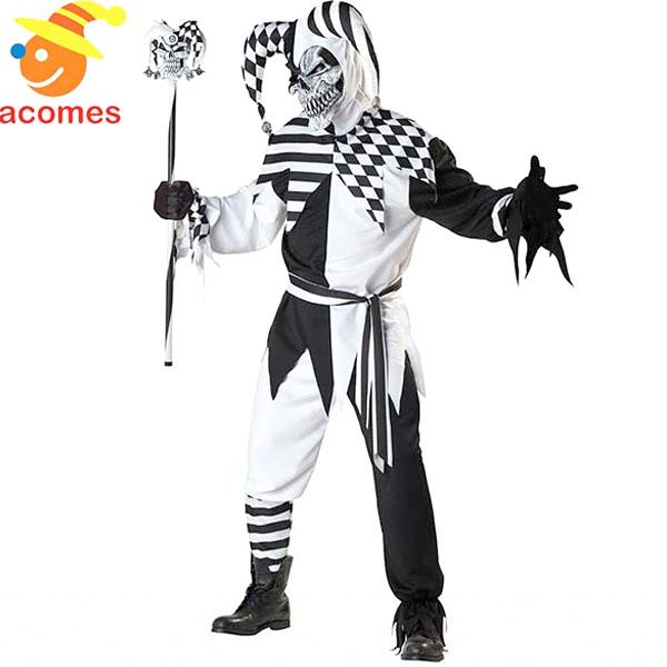 道化師 ジェスター コスチューム 衣装 大人 怖い ピエロ クラウン コスプレ ハロウィン 仮装 キャラクター