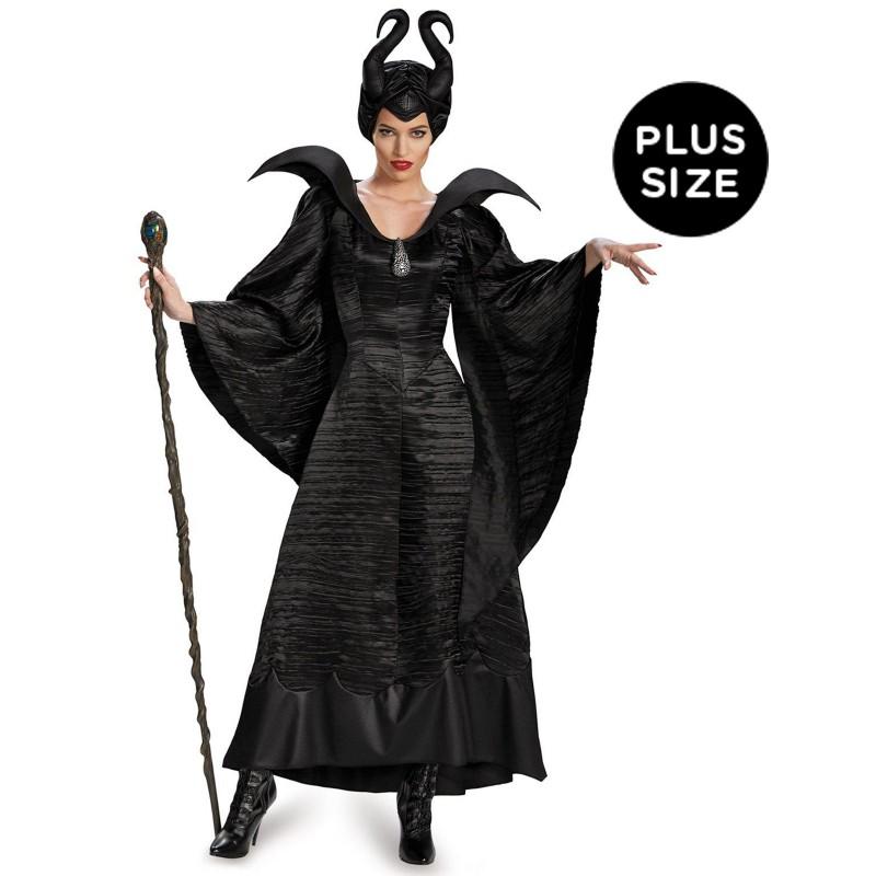 ディズニー コスチューム 大人 マレフィセント 仮装 デラックス洗礼式ドレス 黒 ブラック 大きいサイズ ヴィランズ 悪役