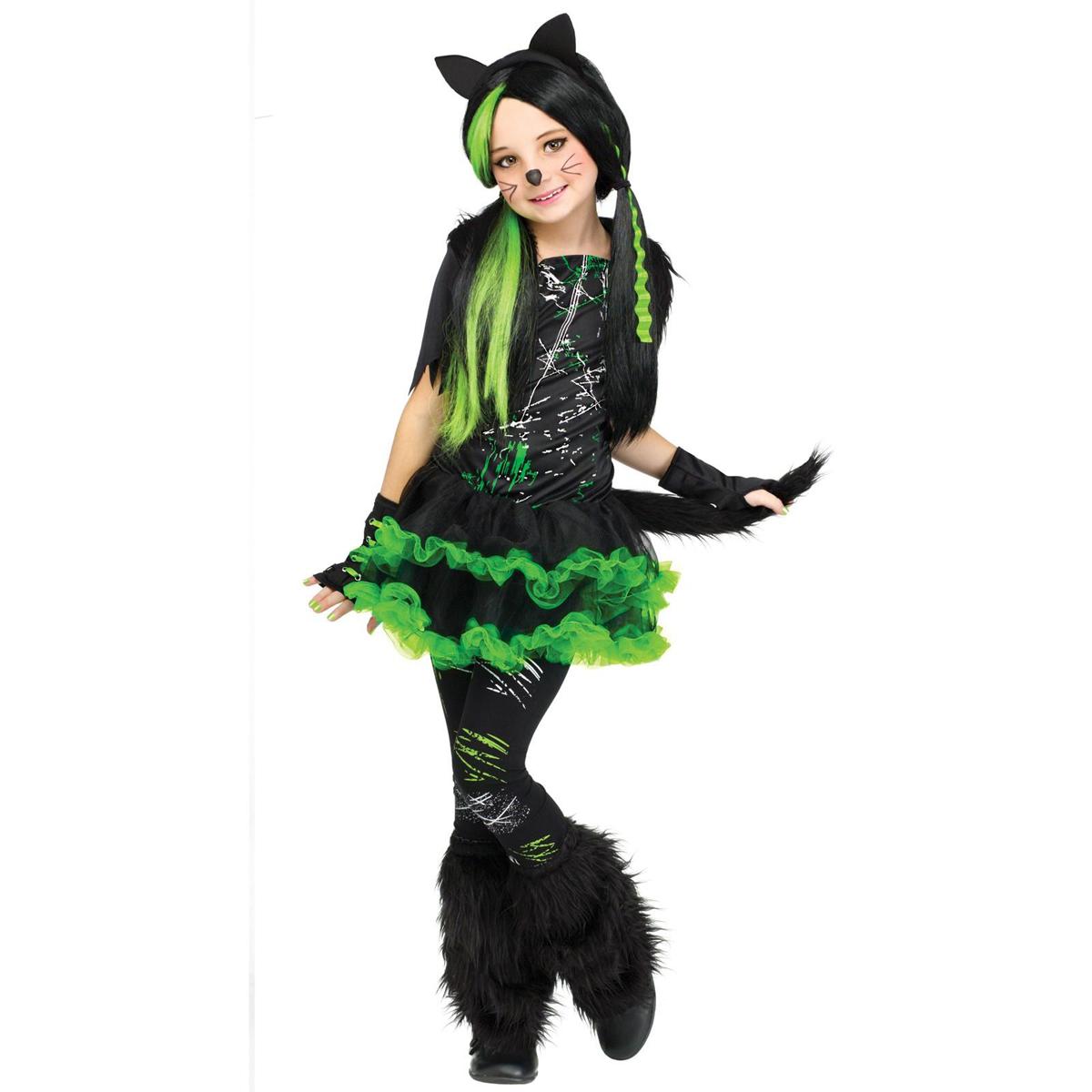 猫 ネコ コスプレ ハロウィン 衣装 クールキャット ミニドレス 子供用 女の子用 コスチューム