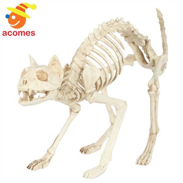 デコレーション ネコ 猫 キャット がい骨 骸骨 スケルトン 置物 大きい 恐怖 怖い ゾンビ お化け屋敷 肝試し インテリア 装飾 飾り