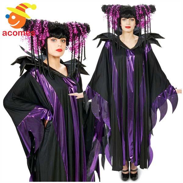 ウィッグ ヴィランズ ファンタジーウィッチ 大人用 ハロウィン 紫 黒 カール かつら イベント パーティー 舞台 マレフィセント