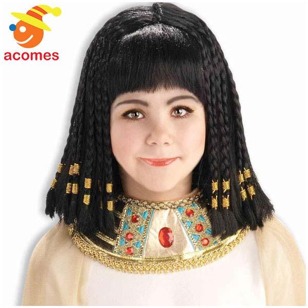 かつら クレオパトラ 黒 古代 エジプト 女王 コスプレ 子供 ウィッグ ハロウィン イベント パーティー