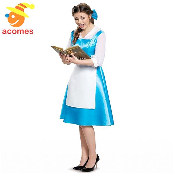 ディズニー プリンセス コスチューム 大人 ベル 衣装 青い ワンピース 美女と野獣 コスプレ ハロウィン 仮装