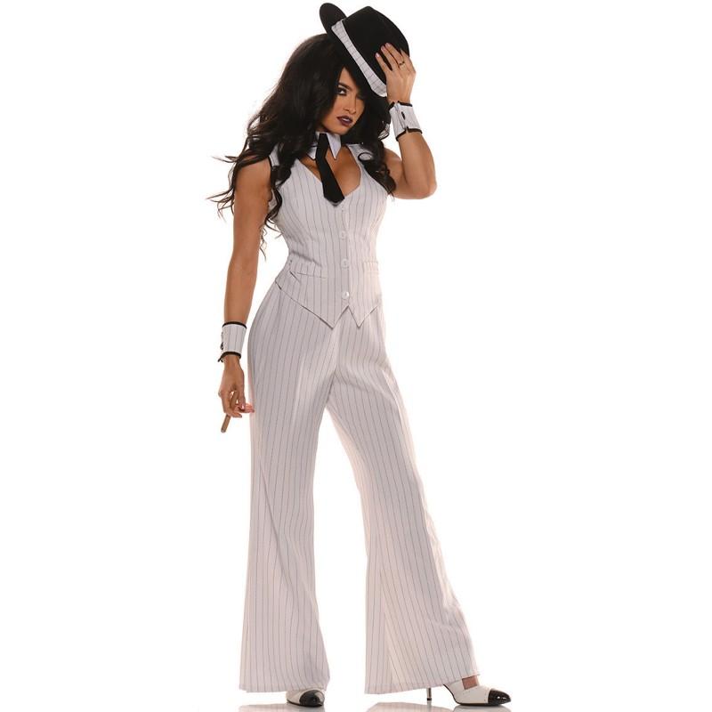 ギャング マフィア 白 スーツ スタイル 女性 大人用 コスチューム ハロウィン コスプレ Mob Boss