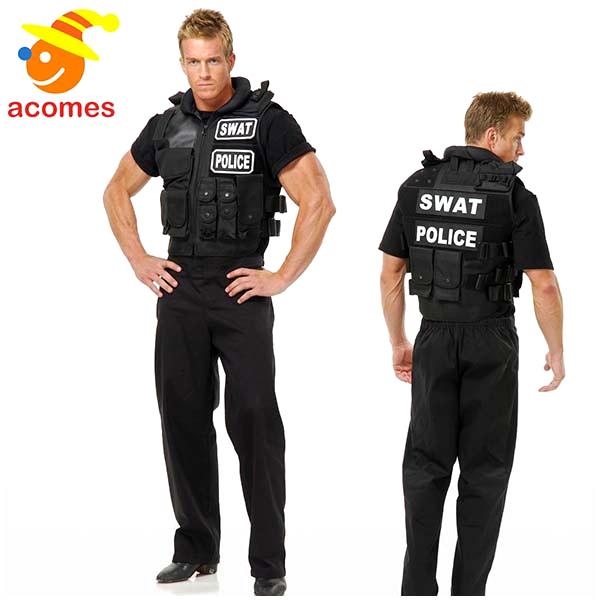 SWAT コスプレ 多機能 ベスト コスチューム 大人 男性用 アメリカ 警察 警官 ポリス 服 制服 サバゲー 衣装 S.W.A.T.