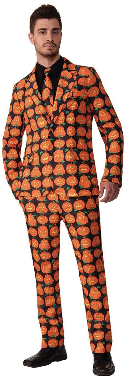 目立つ コスプレ コスチューム かぼちゃ パンプキン 総柄 スーツ オレンジ 上下セット ネクタイ 大人 男性用 仮装 衣装