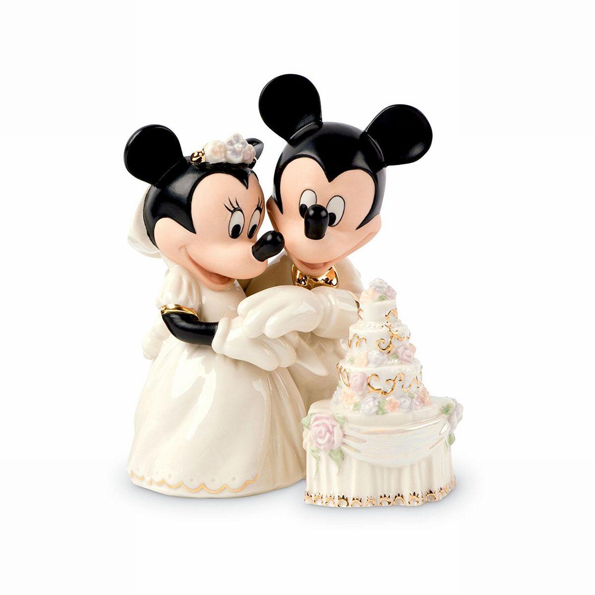 ミッキー ミニー 結婚式 フィギュア ケーキ入刀 ディズニー 人形 彫刻 LENOX レノックス 置物 陶器 インテリア 24金
