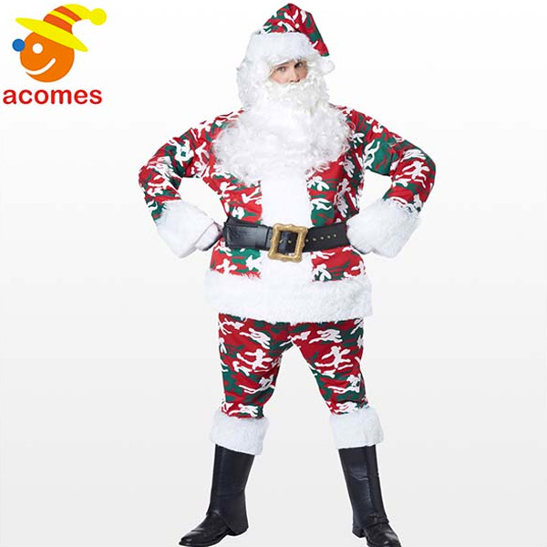 サンタクロース コスプレ 衣装 コスチューム 迷彩 カモフラ ミリタリー メンズ 大人 男性用 サンタ服 クリスマス 仮装 目立つ 変わっ