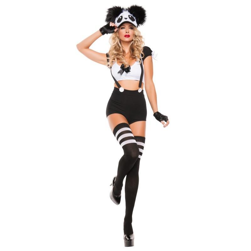 動物 コスプレ セクシー コスチューム パンダ 女性 レディース サスペンダー ショーツ ハロウィン 仮装