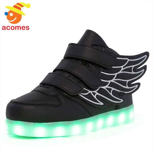 光る 靴 ブラック アンクルブーツ スニーカー 子供用 ライト アップ 11色 ウイングス 通気性 シューズ キラキ