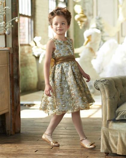 イザベルガレットン Isabel Garreton 子供 ドレス 高級 上質 ゴールド 金 ノースリーブ ワンピース プリーツスカート 女の子 発表会