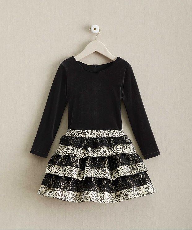 子供 ドレス ベルベット ブロケード ラッフルドレス 高級 上質 黒 長袖 女の子 発表会 衣装 フォーマル