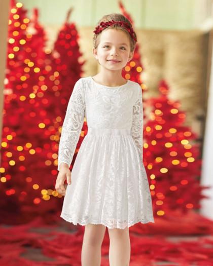 子供 ドレス レース 高級 上質 白 長袖 女の子 発表会 衣装 フォーマル