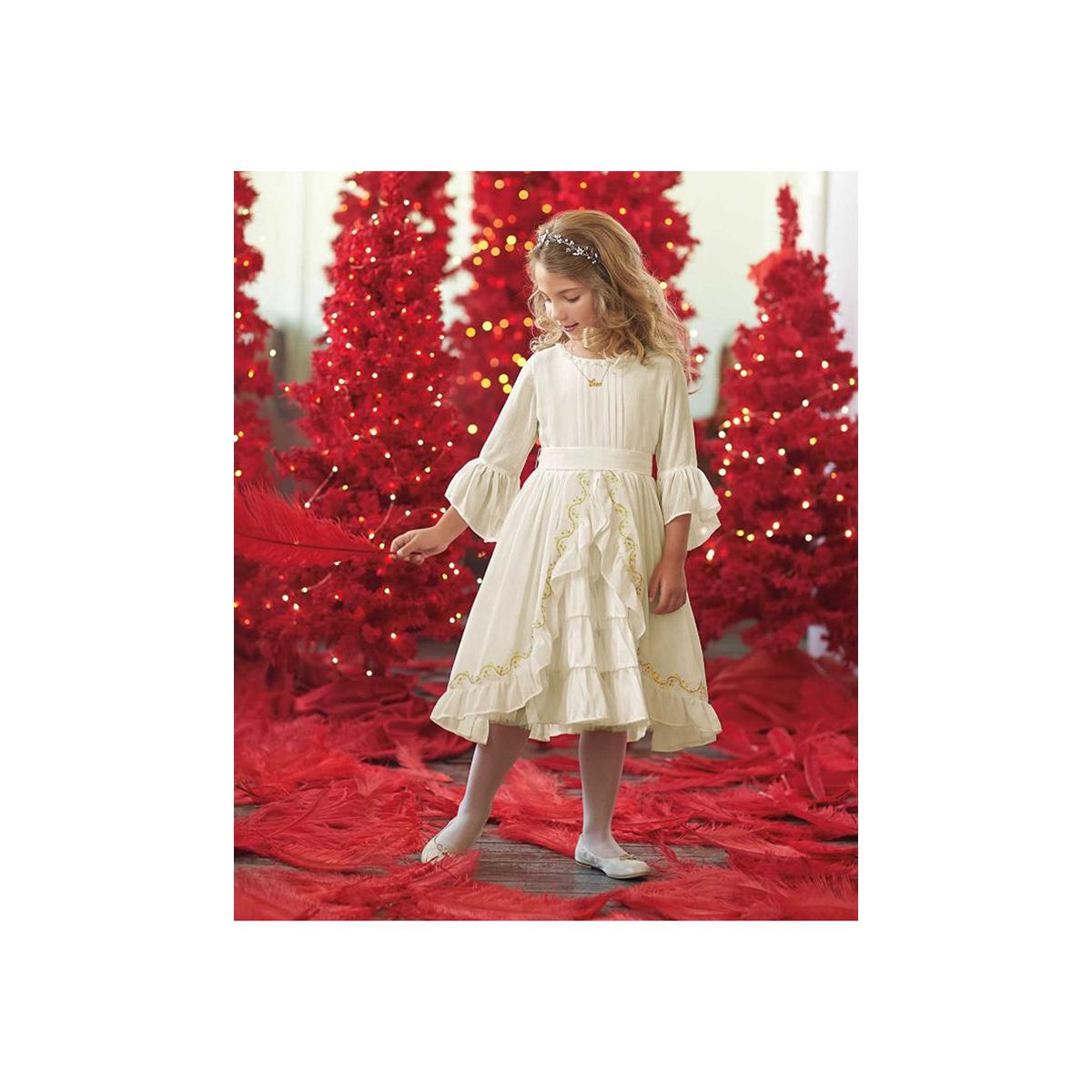 子供 シフォンドレス 高級 上質 白 長袖 女の子 発表会 衣装 フォーマル